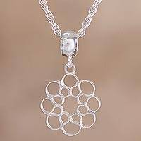 Sterling silver pendant necklace, 'Honeycomb Blossom' - Sterling Silver Flower Shaped Pendant Necklace from Peru
