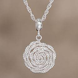 Sterling silver pendant necklace, 'Swirling Stardust' - Sterling Silver Pendant Necklace with Swirled Design