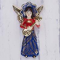 Plaster wall art, 'Floral Angel Lutist' - Angel Lutist Wall Sculpture Handcrafted in Red and Blue