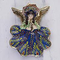 Plaster wall art, 'Cuzco Angel Harpist' - Handcrafted and Hand Painted Angel Wall Sculpture