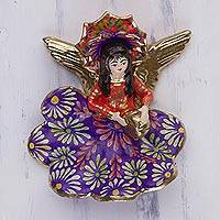Plaster wall art, 'Cuzco Angel Drummer' - Hand Painted Cuzco Angel Drummer Wall Sculpture
