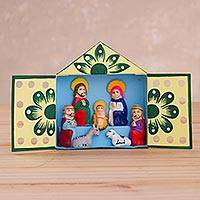Ceramic and recycled cardboard retablo, 'Eco Nativity' - Recycled Cardboard Retablo with Ceramic Nativity Scene