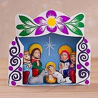 Ceramic and recycled cardboard retablo, 'Christmas Welcome' - Recycled Cardboard Retablo with Ceramic Nativity Scene