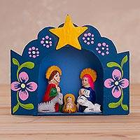Ceramic and recycled cardboard retablo, 'Special Star' - Recycled Cardboard Retablo with Ceramic Nativity Scene