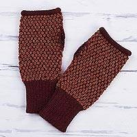 100% alpaca fingerless gloves, 'Pumpkin Anta Wara' - 100% Alpaca Fingerless Gloves in Pumpkin from Peru