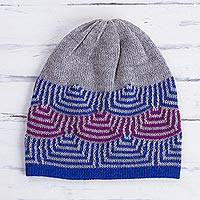 100% alpaca hat, 'Quechua Style' - Reversible 100% Alpaca Hat in Royal Blue from Peru