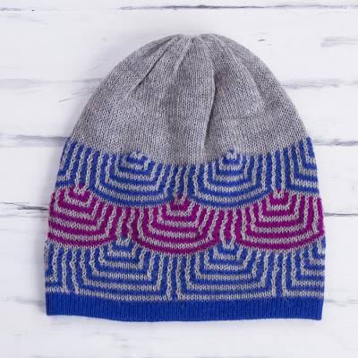 Reversible 100% alpaca hat, 'Quechua Style' - Reversible 100% Alpaca Hat in Royal Blue from Peru