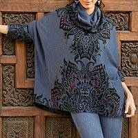 Alpaca blend reversible sweater, 'Twilight Elegance' - Steel Blue and Black Reversible Floral Alpaca Blend Sweater