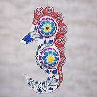Papier mache home accent, 'Floral Seahorse' - Multi-Color Recycled Papier Mache Seahorse Home Accent