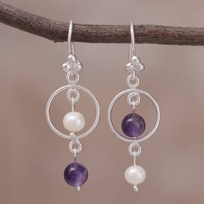 Cultured pearl and amethyst dangle earrings, 'Royal Charade' - Cultured Pearl and Amethyst Sterling Silver Dangle Earrings