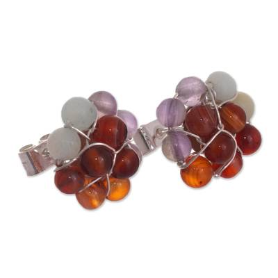 Agate Bead Cluster Flower and Sterling Silver Earrings