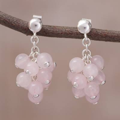 Rose quartz cluster earrings, 'Cascading in Pink' - Rose Quartz Bead Cluster and Sterling Silver Dangle Earrings