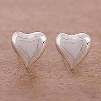 Sterling silver stud earrings, 'Freeform Love' - Handcrafted Sterling Silver Heart-Shaped Stud Earrings