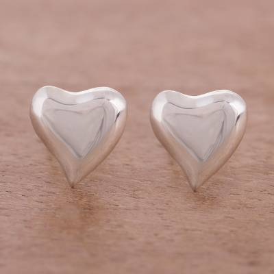 Sterling silver stud earrings, Freeform Love