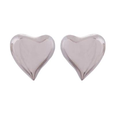 Handcrafted Sterling Silver Heart-Shaped Stud Earrings