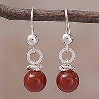 Agate dangle earrings, 'Earth and Sea' - Handcrafted Agate and Sterling Silver Dangle Earrings
