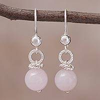 Rose quartz dangle earrings, 'Clouds at Sea' - Handcrafted Rose Quartz and Sterling Silver Dangle Earrings