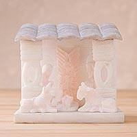 Huamanga stone nativity scene, 'Birth Under the Roof' - Huamanga Stone Nativity Scene from Peru