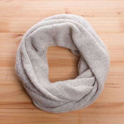 Alpaca blend infinity scarf, 'Cloud Cover' - Oyster Grey Alpaca Blend Infinity Scarf from Peru