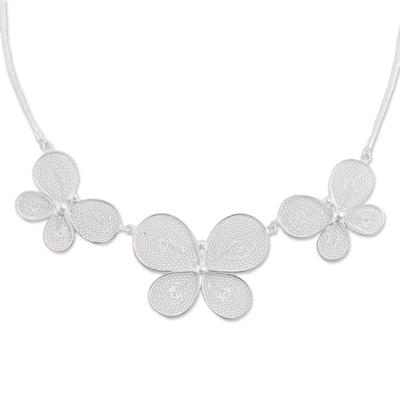 Sterling Silver Filigree Butterflies Pendant Necklace