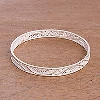 Sterling silver filigree bangle bracelet, 'Elegant Arcs' - Handcrafted Sterling Silver Filigree Waves Bangle Bracelet