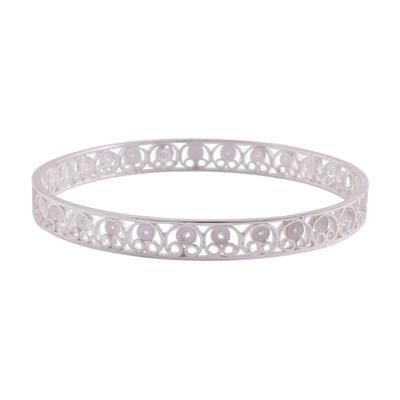 Handcrafted Sterling Silver Filigree Scrolls Bangle Bracelet