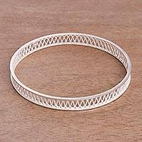 Sterling silver filigree bangle bracelet,
