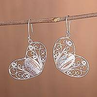 Copper accent sterling silver filigree dangle earrings, 'Heartstrings' - Handcrafted Sterling Silver Filigree Heart Dangle Earrings