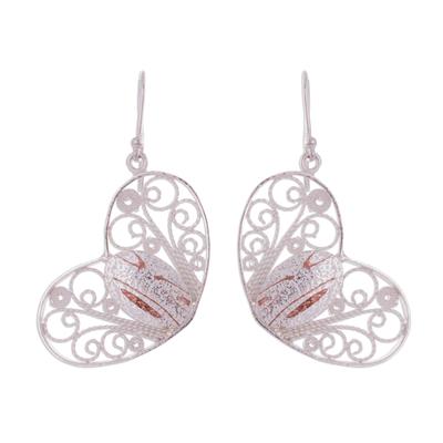 Handcrafted Sterling Silver Filigree Heart Dangle Earrings