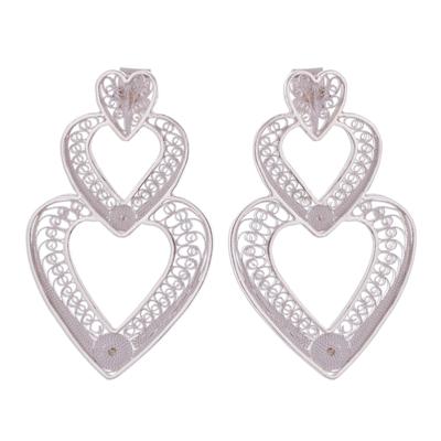 Handcrafted Sterling Silver Filigree Heart Drop Earrings