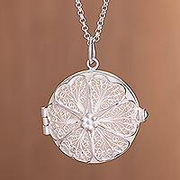 Featured review for Sterling silver filigree locket necklace, Treasured Memories