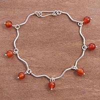 Carnelian link bracelet, 'Seven Suns' (Peru)