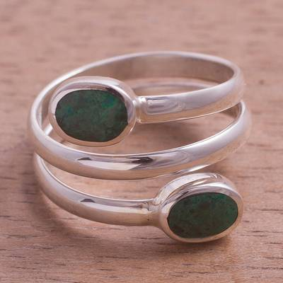 Handcrafted Green-Blue Chrysocolla and Fine Silver Wrap Ring