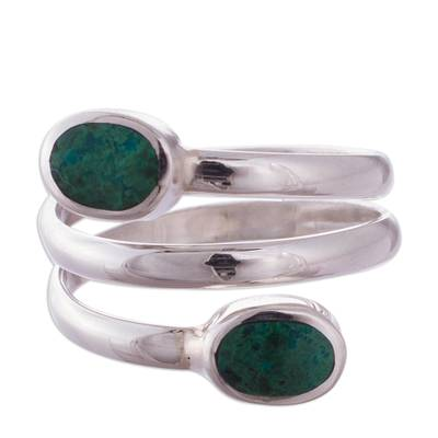 Handcrafted Green-Blue Chrysocolla Wrap Ring