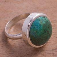 Chrysocolla cocktail ring, 'Tumultuous Sea' - Green-Blue Chrysocolla and Sterling Silver Cocktail Ring