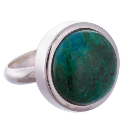 Green-Blue Chrysocolla and Sterling Silver Cocktail Ring