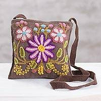 Wool sling, 'Flowers and Earth' - Handmade Brown Wool Sling with Floral Embroidery from Peru