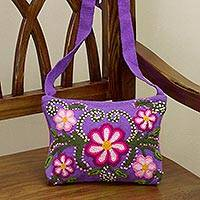 Wool sling bag, 'Charming Violet' - Peruvian Handcrafted Violet Wool Sling with Floral Design