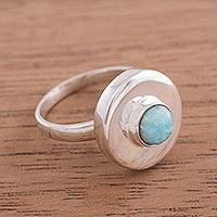 Amazonite cocktail ring, 'Sweet Amazonite' - Peruvian Modern Sterling Silver and Amazonite Cocktail Ring