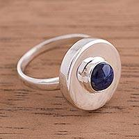 Sodalite cocktail ring, 'Sweet Sodalite' - Modern Sodalite and Sterling Silver Cocktail Ring from Peru