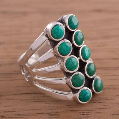 Chrysocolla cocktail ring, Spirited Symmetry