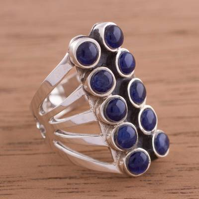 Sodalite and Sterling Silver Modern Cocktail Ring from Peru