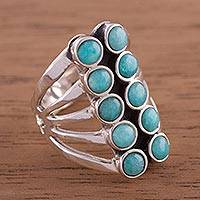 Amazonite cocktail ring, 'Spirited Balance' - Andean Sterling Silver Cocktail Ring with Amazonite Stones