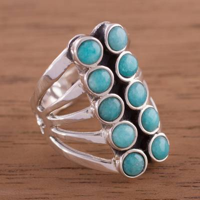 silver iron cross rings flames - Andean Sterling Silver Cocktail Ring with Amazonite Stones