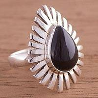 Obsidian cocktail ring, 'Drop of Elegance' - Peruvian Teardrop Obsidian and Sterling Silver Cocktail Ring