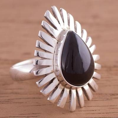 plain silver thumb ring - Peruvian Teardrop Obsidian and Sterling Silver Cocktail Ring