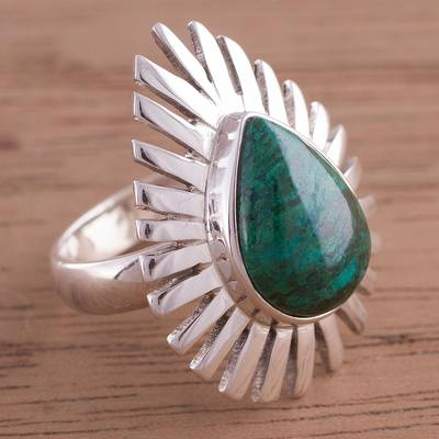 latest silver ring design ideas - Teardrop Chrysocolla and Sterling Silver Cocktail Ring