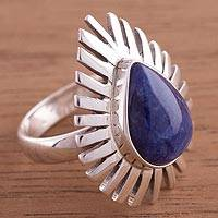Sodalite cocktail ring, 'Drop of Grandeur' - Sterling Silver and Blue Sodalite Cocktail Ring from Peru