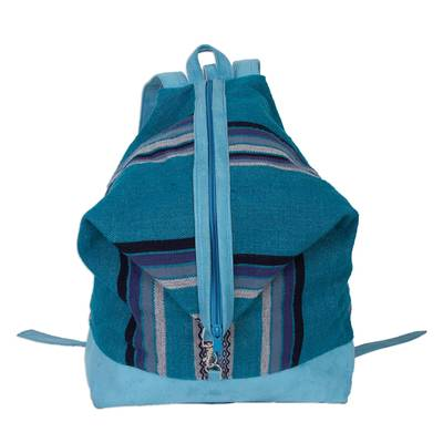 Turquoise Striped Handwoven Alpaca Blend Expandable Backpack