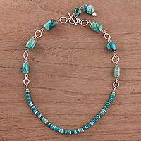 Chrysocolla beaded necklace, 'River Currents' - Chrysocolla and Sterling Silver Beaded Necklace from Peru